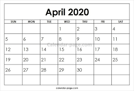 April 2020 Template April 2020 Printable Calendar Template Calendar 2019