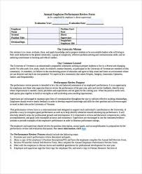 Sample Annual Performance Review Sample Annual Review Forms 7 Free Documents In Word Pdf
