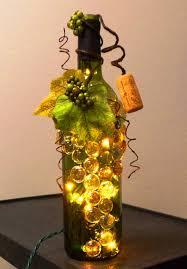 wine bottle lighting. Decorative Embellished Green Wine Bottle Light With Glass Gems, Leaves, And Berries, Night Light, Lamp, Grapes Decor Lighting
