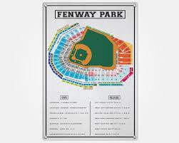 Fenway Park Wood Print Fenway Seat Map Seating Chart Pop Art Wall Decor Man Cave Boston Red Sox Seat Map Fenway Park