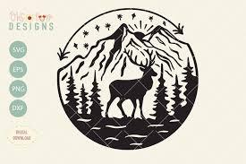 Stag moose elk deer animal mammal. Elk Mountain Svg File Outdoor T Shirt Design Svg 779940 Svgs Design Bundles