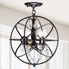 lamp astounding iron orb chandelier foucault replica round black with crystal chandeliers and candle