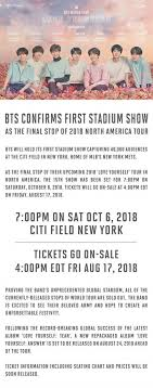 Bts World Tour 2018 Seating Chart Bts Confirms First Stadium Show In The U S Omonatheydidnt