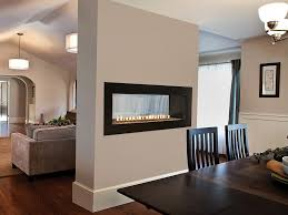 48 inch boulevard linear see through fireplace vfll48sp with 4 inch surround in matte black and crushed glass