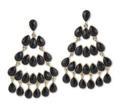 kenneth jay lane black chandelier earrings with gold detailing in stock in our greenwich for quick
