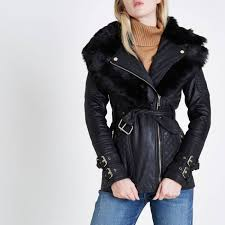 river island black belted quilted biker collar coat