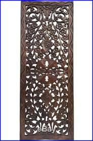 asian carved wood wall decor panel floral wood wall art dark brown 35 5x13 on asian carved wood wall art with asian carved wood wall decor panel floral wood wall art dark brown