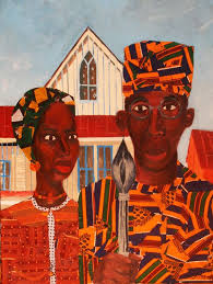 dynamicafrica african american gothic by artist jamilla okubo this painting was inspired by the iconic original grant wood american gothic artwork that