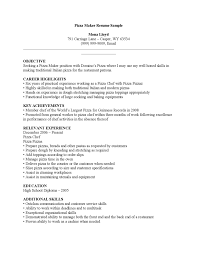 Sample. pizza maker resume ...