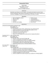 Legal Resume Templates Fascinating Resume Examples For Receptionist Jobs Job Description Legal Modern
