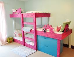 3 in 1 bunk beds having the boards attached to the walls to create a floating in the air look that pink stain job is for the girl s room while green goes