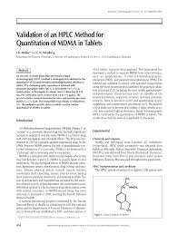 Pdf Validation Of An Hplc Method For Quantitation Of Mdma