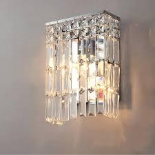 extraordinary crystal wall sconce long crystal shape flat box lights on led bathroom