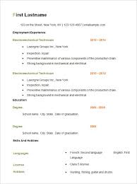 Basic Resume Templates Simple Resume Template Free On Resume