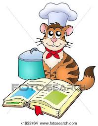 cartoon cat chef with recipe book color ilration