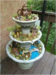 fairy gardens ideas. Upcycle An Old Garden Fountain Into A Tiered Fairy Gardens Ideas