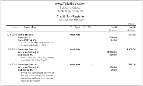Credit Memo Letter Credit Note Register in Tally100 Accounting Software 83