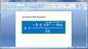 belajar microsoft word 2007 cara membuat insert persamaan matematika math equations di ms word 1 you