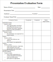 Evaluation Form Template 7 Sample Presentation Evaluations Pdf