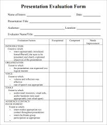 evaluation form templates 7 sample presentation evaluations pdf