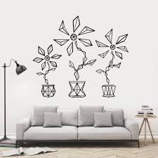 dog wall stickers unique geometric flower wall art stickers for bedroom graphic fl vinyl