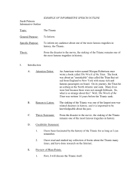 titanic outline sample informative speech printable titanic outline sample informative speech