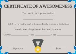 Certificate Of Awesomeness Template Certificate Of Awesomeness Template Documents Certificate Of