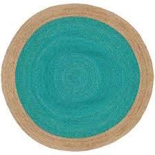 natural fiber teal beige 8 ft x 8 ft round area rug