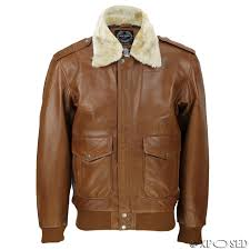 mens real leather tan brown vintage pilot removable