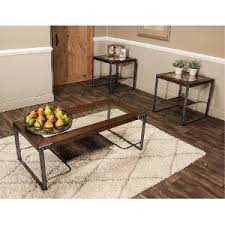 ... Glass Top 3 Piece Coffee Table Set   Hawk
