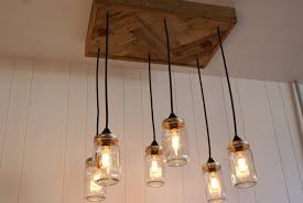cool mason jar edison bulb chandelier with reclaimed wood for ceiling lighting fixture