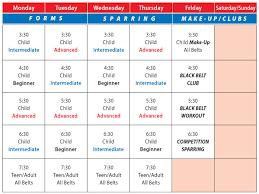 Class Schedule Elite Taekwondo Academy