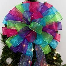 36cm Large Indoor  Outdoor Glitter Bow Christmas Tree DecorationPurple Christmas Tree Bows