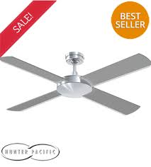 hunter pacific intercept 2 52 ceiling fan brushed aluminium