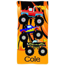Personalized Beach Picture Monster Trucks Personalized Kids Beach