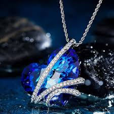 pendant pennecklace qianse heart of the ocean pendant necklace made with swarovski crystal