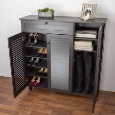 dark brown wood shoe storage cabinet