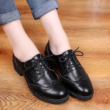 aier british half brogue leather oxford shoes for women 1