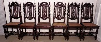 set of 6 victorian gothic style oak dining chairs