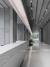 design of office building. this lobby to an office building of 1200m2 is mostly made with a recycled material design