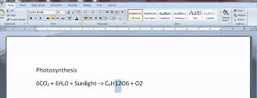 how to write chemical formulas in word