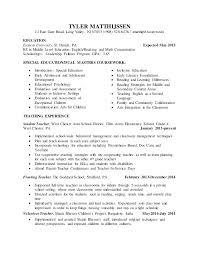 Teaching Resume Examples School Teacher Resume Examples Special