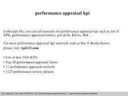 Preformance Review Forms Performance Appraisal Kpi