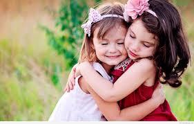 cute child couple wallpaper hug