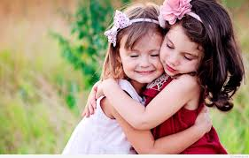 cute child couple wallpaper hug