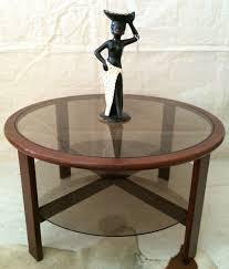 Teak And Glass Coffee Table Vintage Round Teak Glass Coffee Table Retro Mid Century Th Brown
