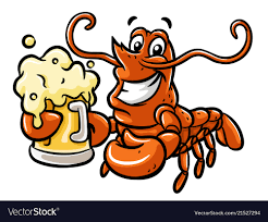 Cartoon lobster with beer Royalty Free ...