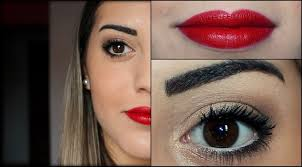 glamorous eyes make up and red lips you