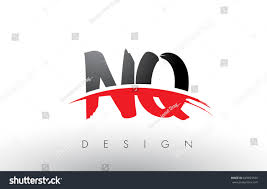NQ N Q Brush Logo Letters Design with Red and Black Colors and Brush Letter  Concept.