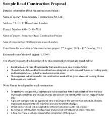 Construction Proposal Letter Road Construction Project Proposal